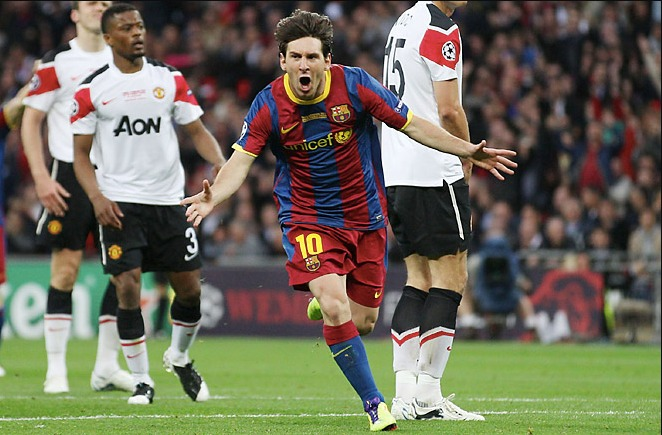 messi barcelona vs manchester united