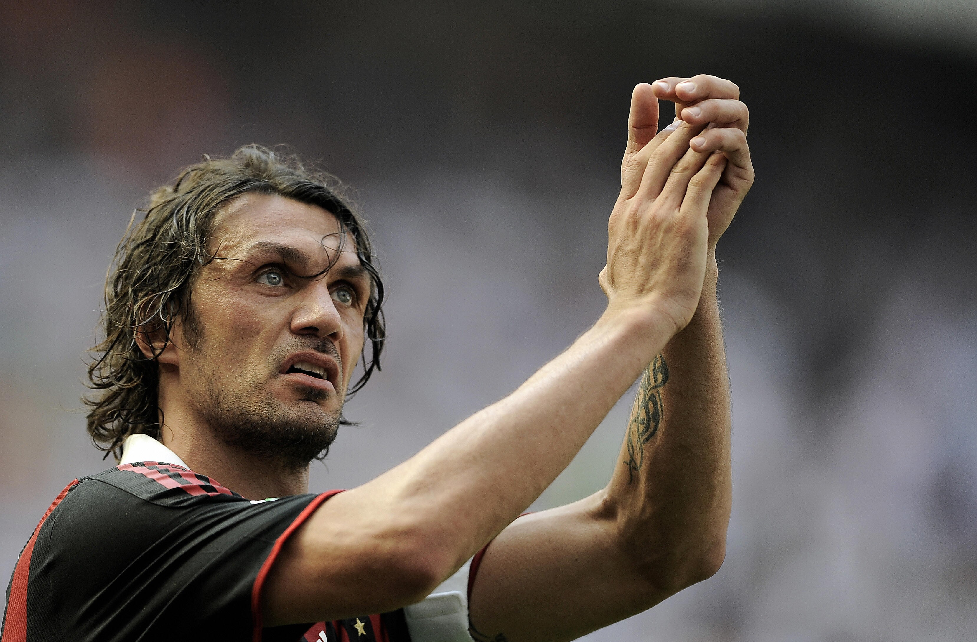 AC Milan's defender and captain Paolo Maldini versatality